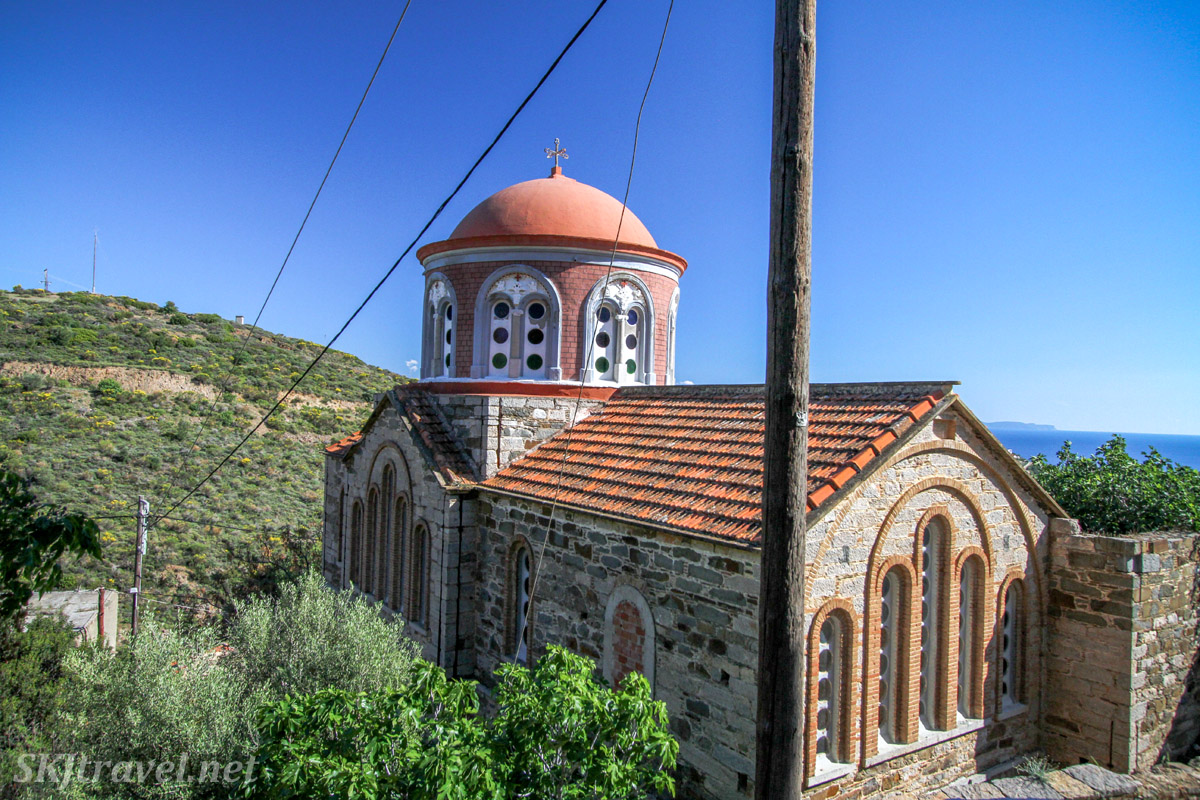 Outside of the small Greek orthodox church in the village of Volissos, Chios Island, Greece.