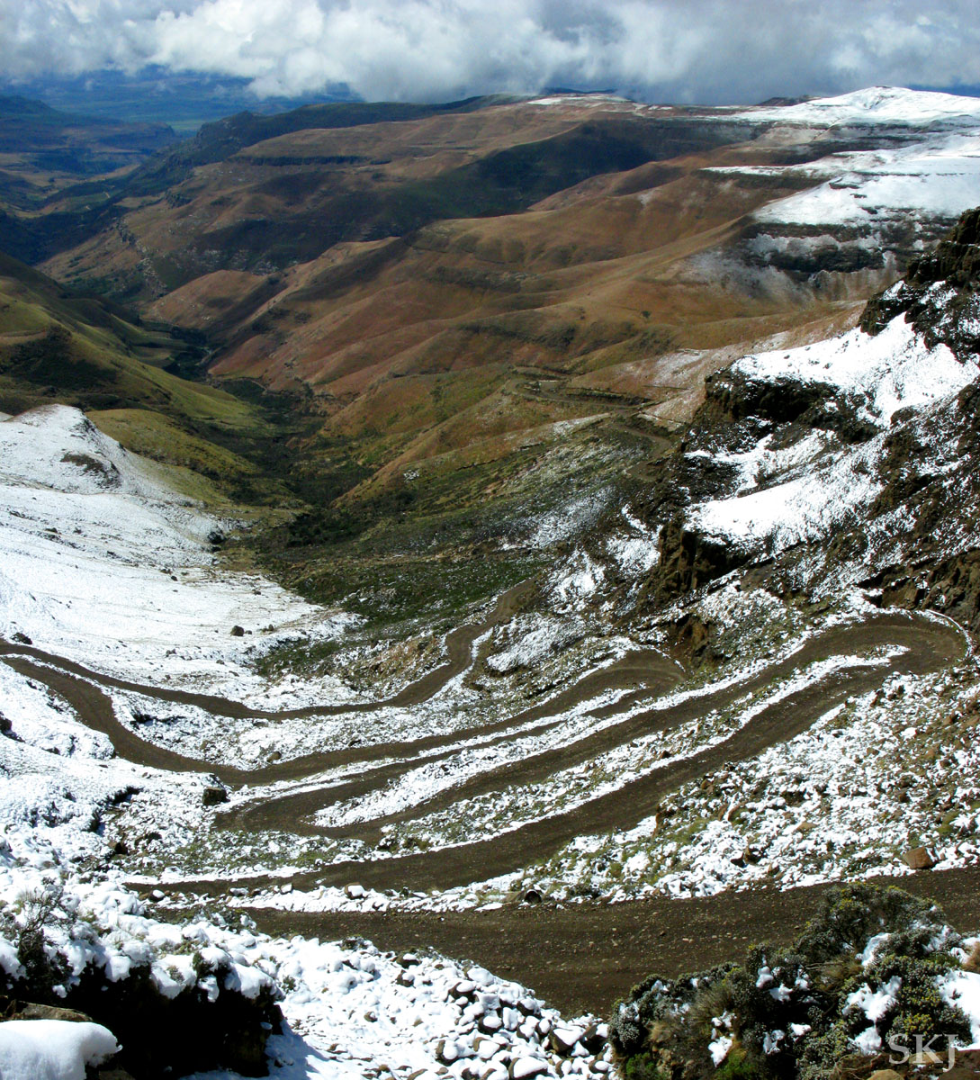 Very twisty road from the top of Sani Pass after a snowstorm, Lesotho.