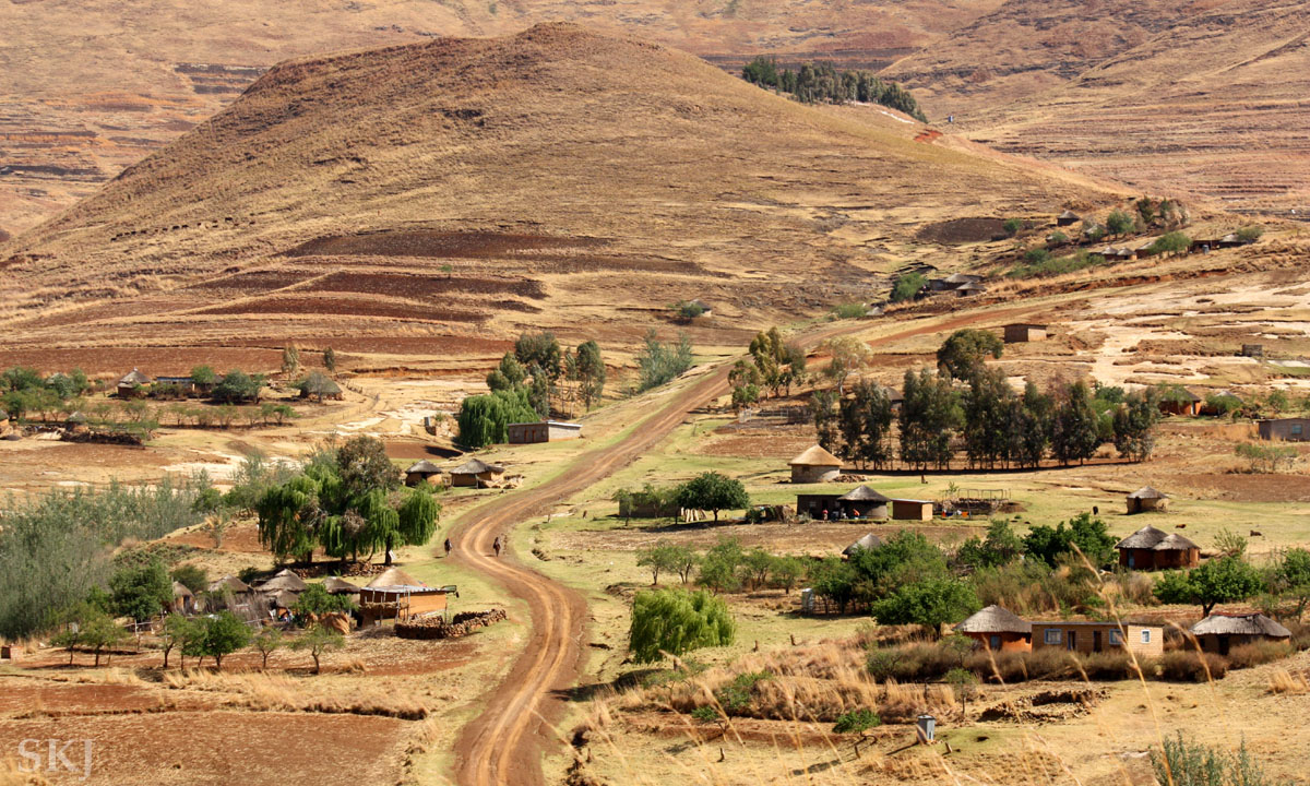 Typical settlement along a hillside in Lesotho, the Mountain Kingdom.
