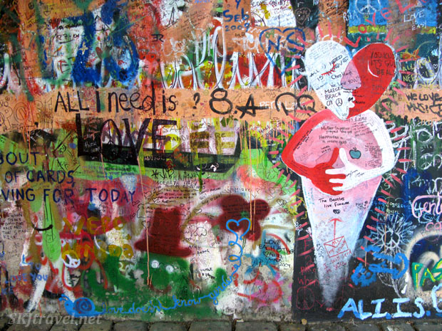 Graffiti on the John Lennon wall in Prague.