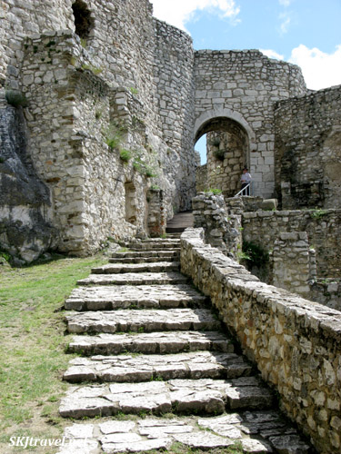 Stone stairs inside Spis Castle, Slovakia.