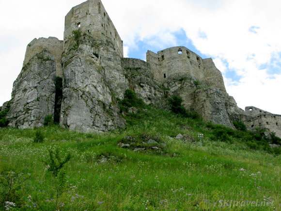 Outside of Spis Castle and lush green fields of weeds and flowers. Slovakia