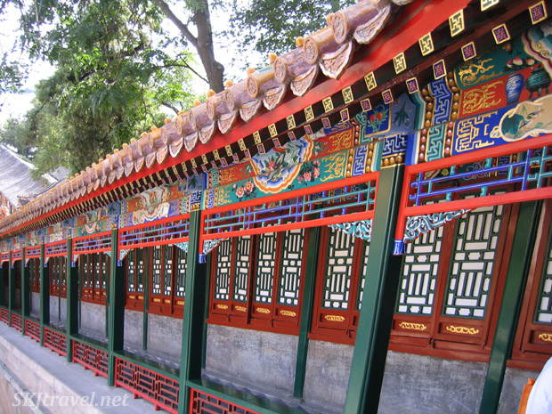 Brightly painted covered walkway in the Summer Palace, China.