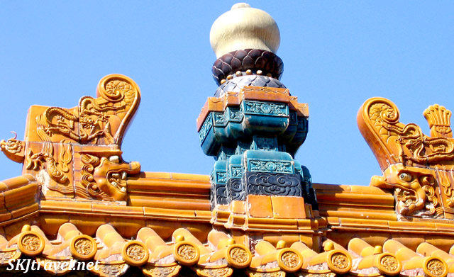 Detail of roof tiles on one of the buildings at the Summer Palace. China.