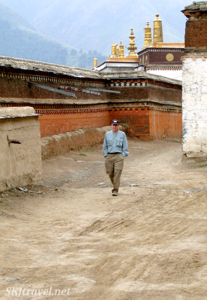 Erik walking through the empty grounds of the Labrang Monastery, Xiahe, China.