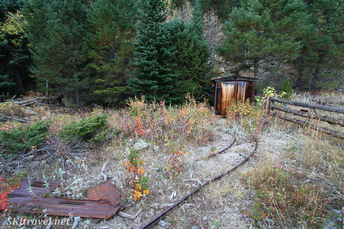 Mining cart rails leading out of the Blue Bird Mine. Caribou Ranch Open Space, Nederland, Colorado.