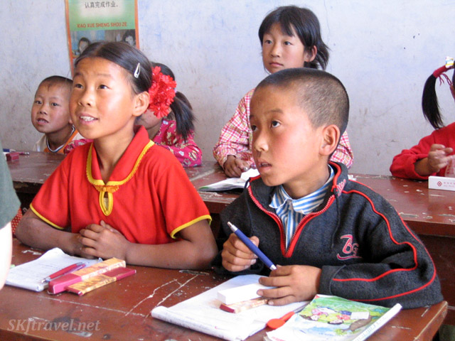 Primary school children inside their classroom yao in the rural village, Dang Jiashan, China.