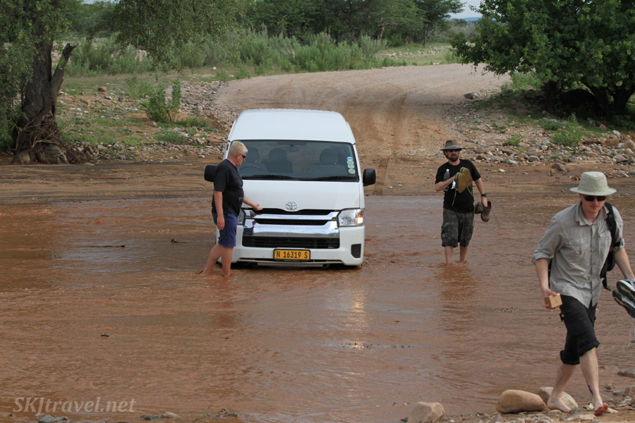 Abandon ship! Leaving the Berrie Bus in the temporary river.