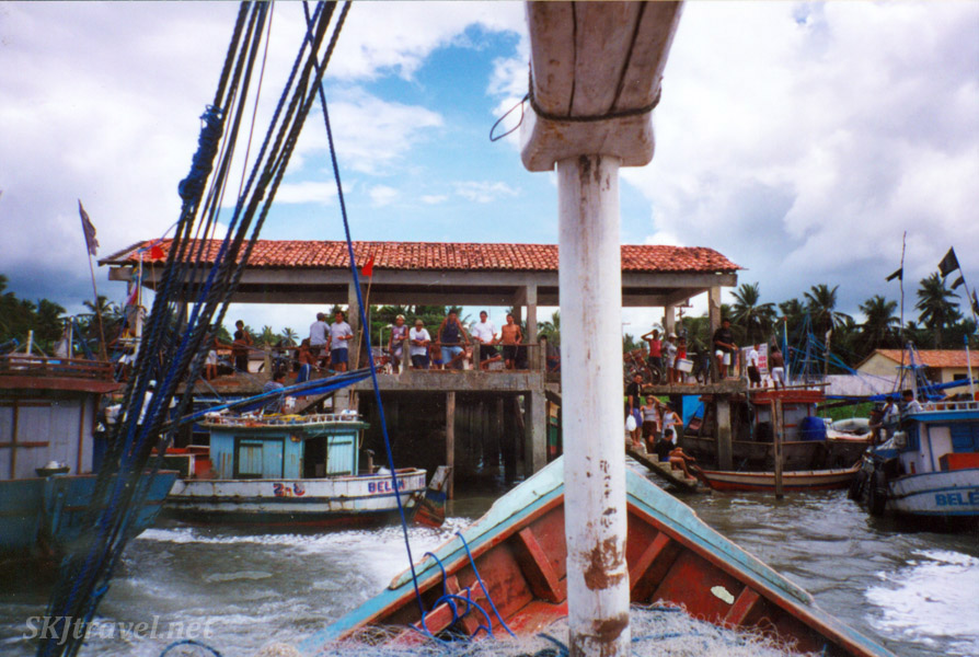 Pushing away from the dock with a fishing boat full of strangers, Sao Joao de Pirabas, Brazil.
