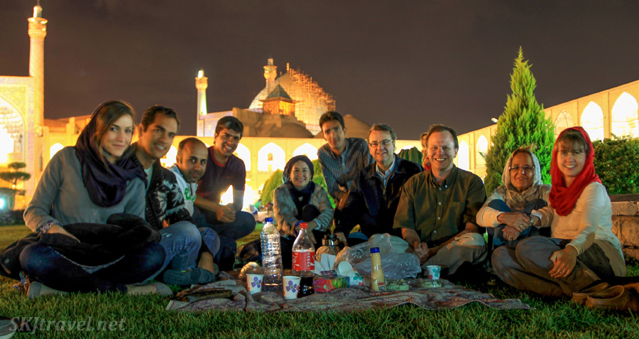 Erik and I and friends having an evening picnic on the lawn in the Imam Square, Isfahan, Iran.