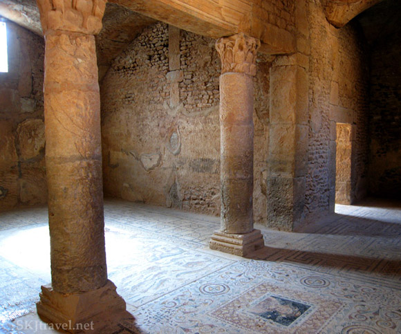 A room underground in ancient roman city of Bulla Regia Tunisia covered with tile mosaics on the floor. photo by Shara Johnson
