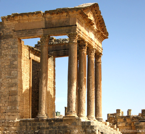 Ancient roman ruin temple at Dougga.