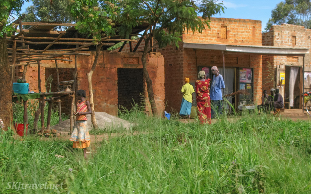 Store fronts along the roadside in rural Uganda.