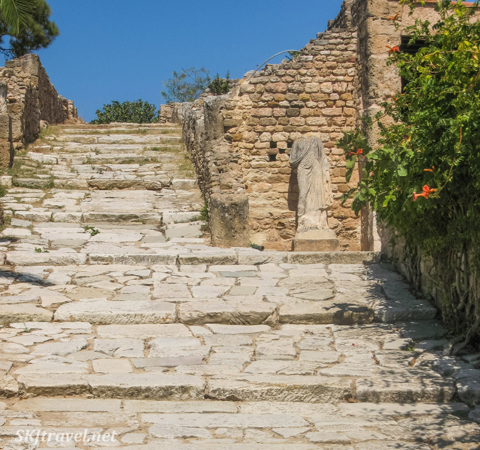 Ruins of Carthage outside Tunis, Tunisia. Stone stairs beside amphitheater.