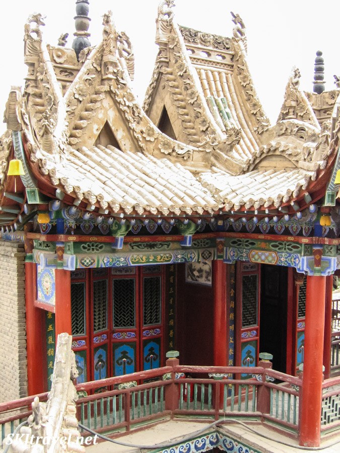 Elaborate stonework of roofs in Gao Miao, Zhongwei, China.