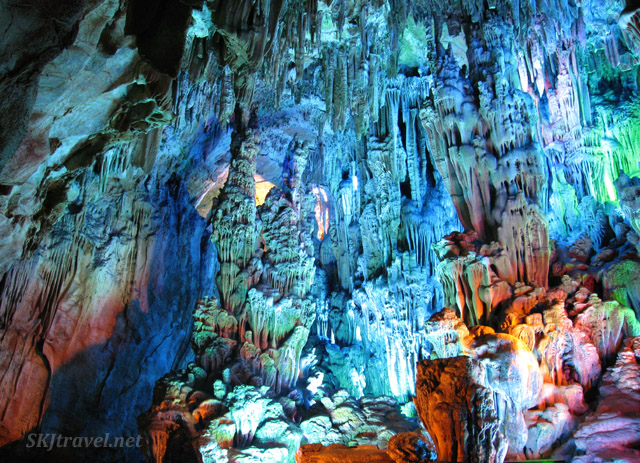 Amazing texture in cave formations inside Reed Flute Cave, Guilin, China.