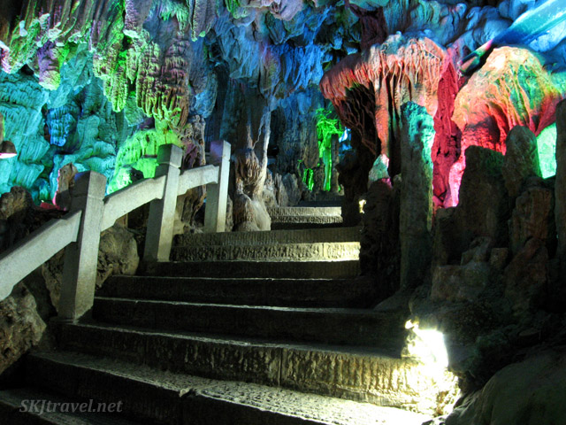Stairway leading into Reed Flute Cave, Guilin, China.