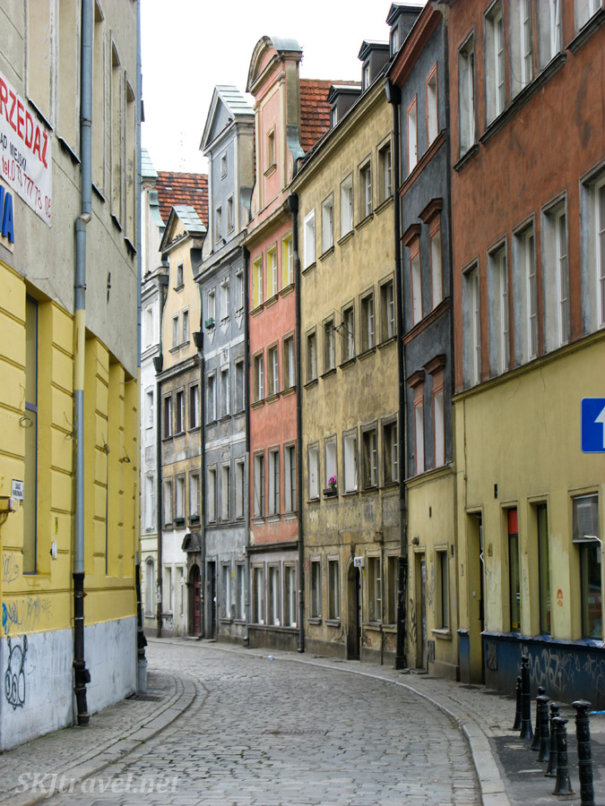 Narrow street in Wroclaw, Poland.