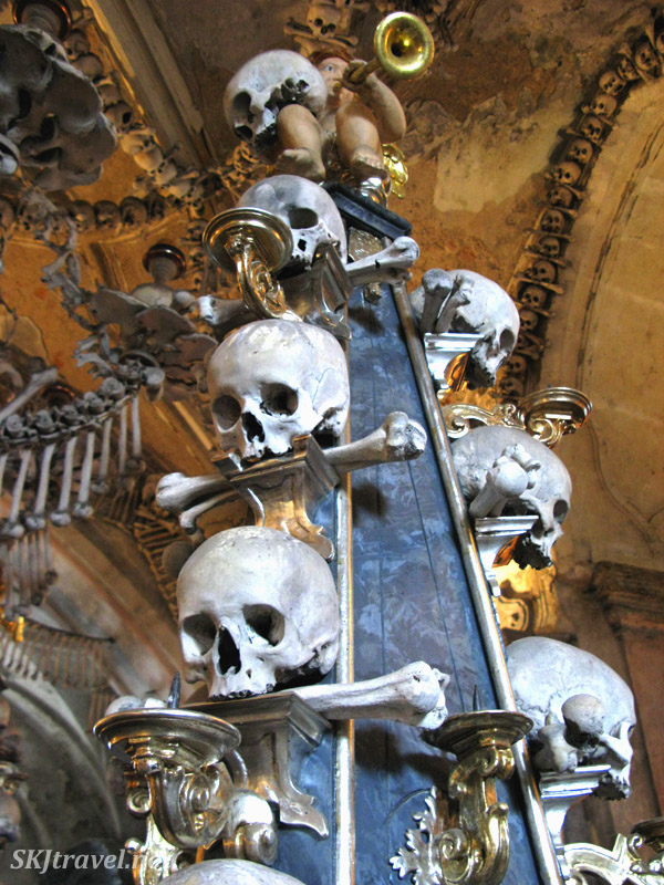 Tower of skulls Sedlec Ossuary in Kutna Hora, Czech Republic.