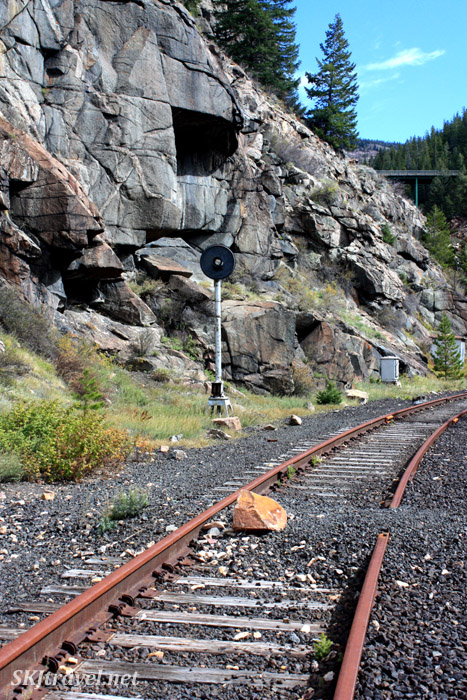 Abandoned railroad tracks leading to Gilman, Colorado.