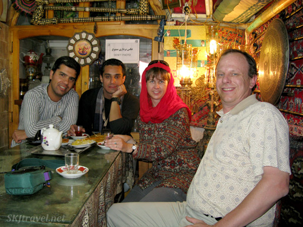 Sitting in the family section of a traditional tea house in Isfahan, Iran.