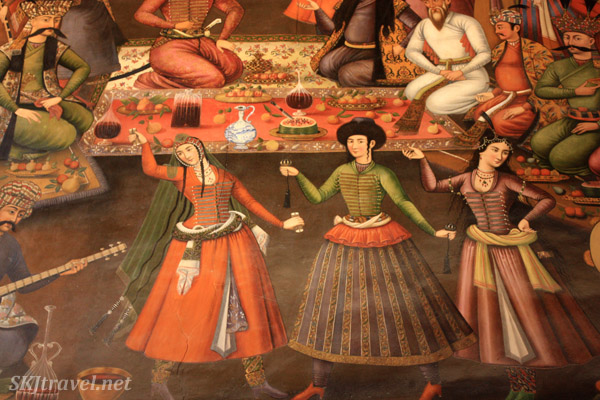 Fresco of dancing entertainment inside Chehel Sutun (forty column palace). Isfahan, Iran.
