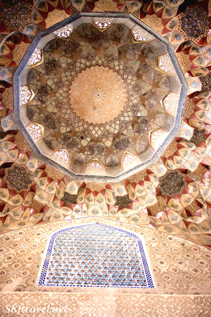 Ceiling inside a tiny mosque in Kerman, Iran.