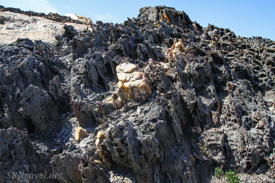 Volcanic rock eroded into imaginative shapes. Cape de Creus, Spain.