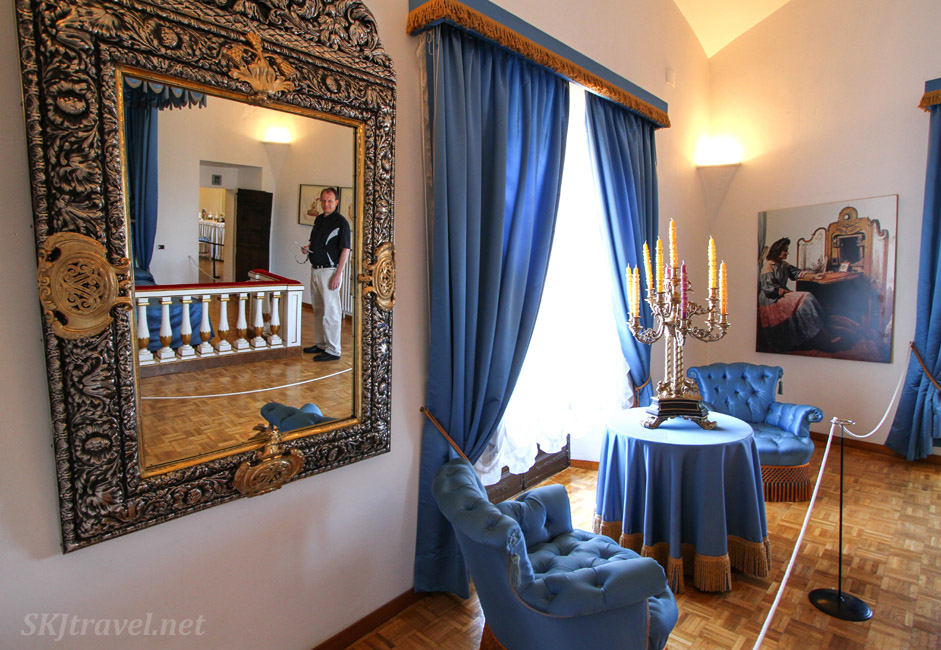 The blue room in the Gala Dali castle in Pubol, Spain.