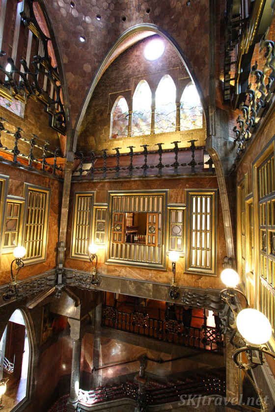 Central atrium room at Palau Guell, Barcelona, Spain.