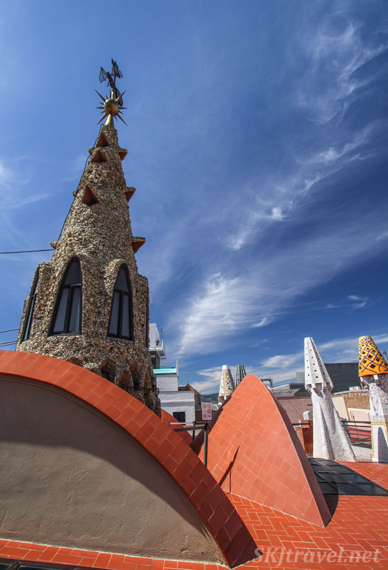 Magical rooftop of Guell Palace / Palau, Barcelona, Spain.
