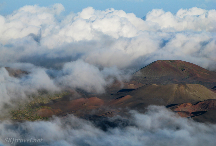 Looking down from near the summit of Haleakala volcano into the caldera, Maui, Hawaii.