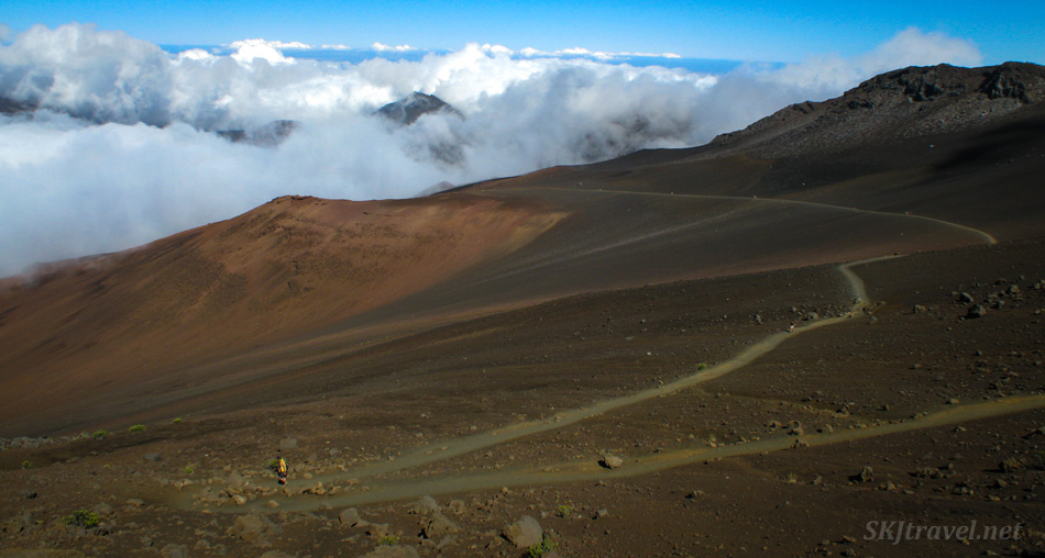 A trail leads into the caldera of Haleakala volcano, Maui, Hawaii.