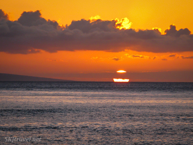 Sunset viewed in Lahaina, Maui, Hawaii.