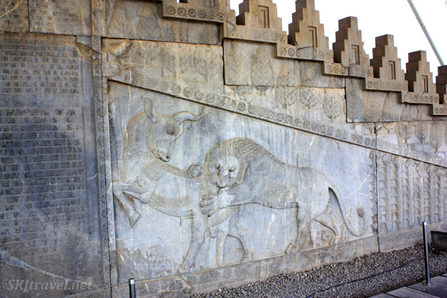 Prominent theme of a lion attacking a bull. Persepolis, Iran.