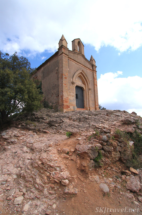 Small hermitage perched upon the rocks of Montserrat, Spain.