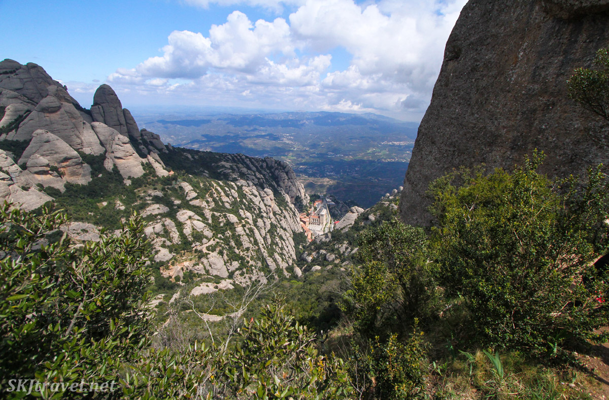 Looking down onto the monastery complex from the top of Montserrat, Spain.