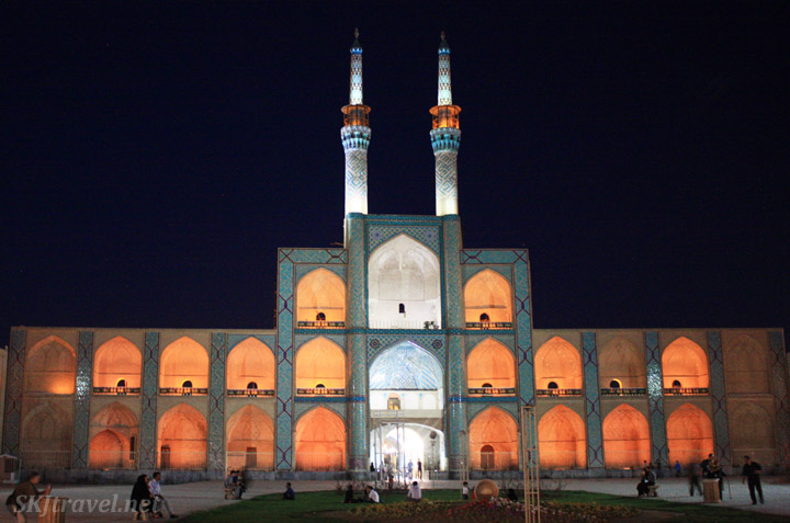 Central square in Yazd, Iran, at night.