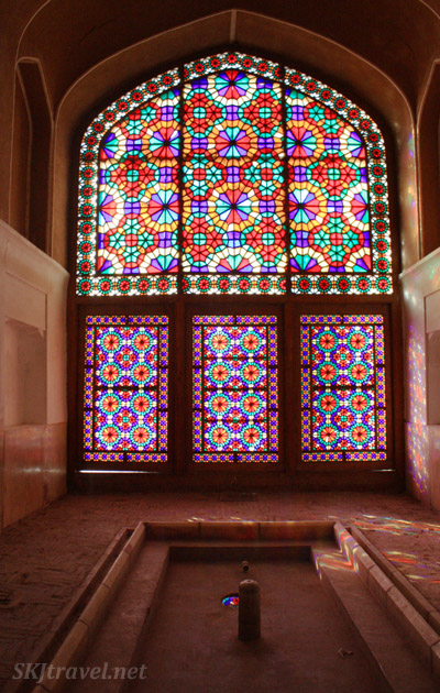 Stained glass windows in Dowlatabad Garden. Yazd, Iran.