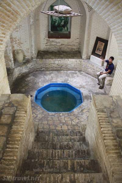 Underground room with small water pool in wealthy home for napping and keeping food cool. Yazd, Iran.