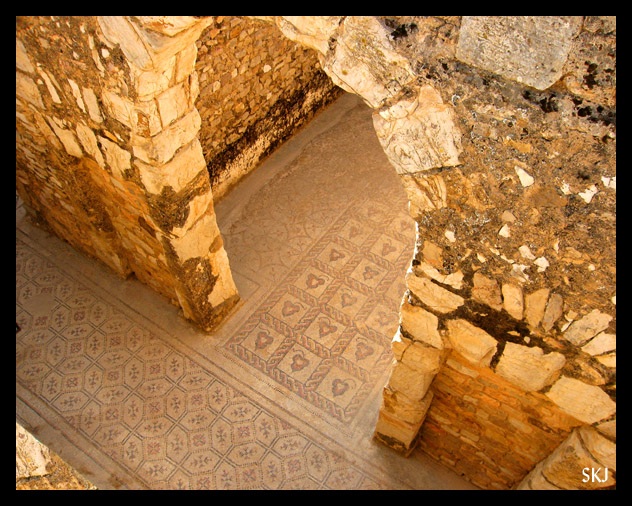 Looking down onto a tile mosaic floor and an arched doorway at Bulla Regia Tunisia. photo by Shara Johnson