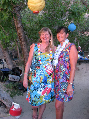 Hawaiian night coordinators beneath their festive lanterns. Green River, Utah.