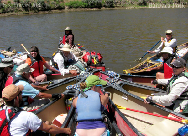 Group of canoes on the Yampa River, Colorado.