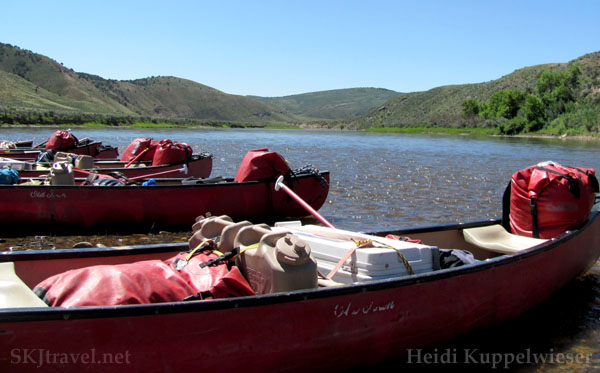 Canoes loaded with supplies, ready to head down the Yampa River, Colorado.