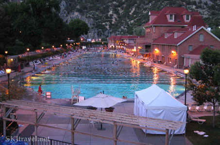 Large hot springs swimming pool in Glenwood Springs, Colorado.